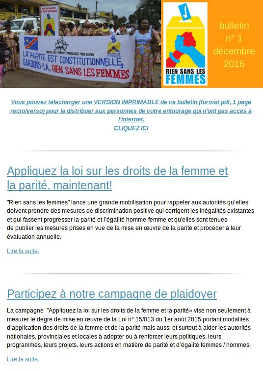 Bulletin n°1 - décembre 2016