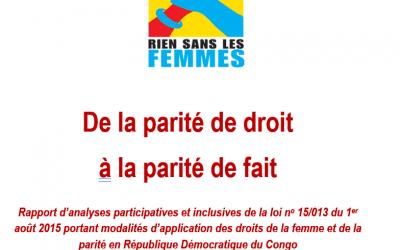 Des Entités Territoriales continuent à élaborer leur Plan d'action triennal en matière de parité et d'égalité H/F