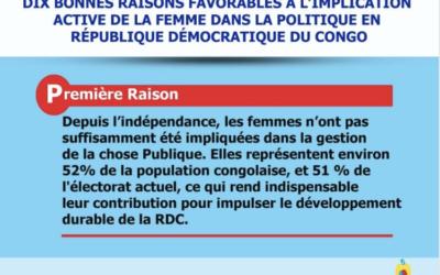 Dix bonnes raisons en faveur de l'implication active de la  femme dans la politique en République Démocratique du Congo